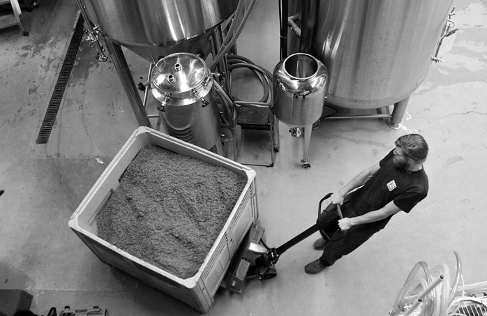 About 250-300 kilograms of malt is used for every 1,700 litres of beer brewed at Steel & Oak.