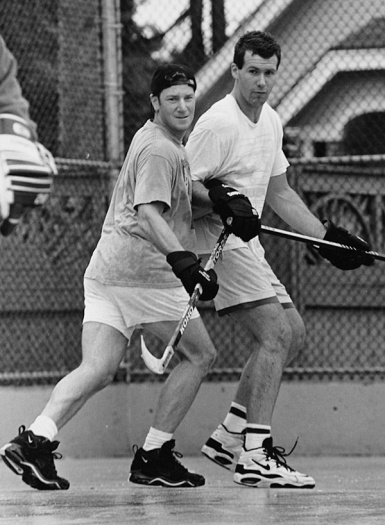 The advent of two players named Paul was the motivation to nickname all players. Here, Paul One checks Hollywood Paul.