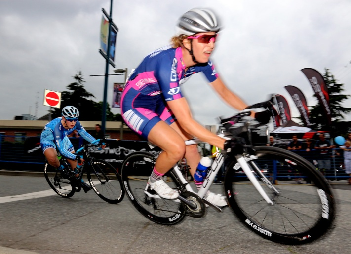 MARIO BARTEL PHOTO Riders speed through the corner of Donald Street and McAllister Avenue during the women's race at the PoCo Grand Prix on Friday.