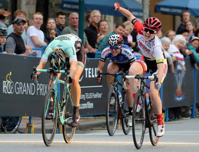 MARIO BARTEL PHOTO Kendelle Hodges celebrates her win in the women's race at Friday's PoCo Grand Prix.