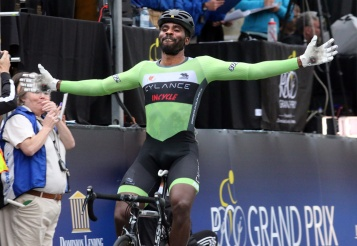 MARIO BARTEL PHOTO Justin Williams celebrates his win in the men's race.