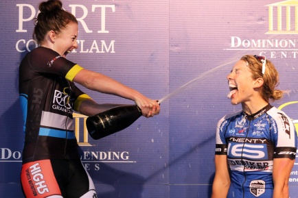 MARIO BARTEL PHOTO Women's race winner Kendelle Jackson celebrates on the podium.