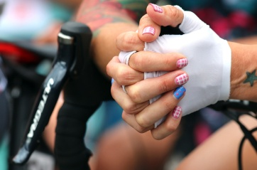 MARIO BARTEL PHOTO A rider's elaborate nails prior to the start of the women's race at Friday's PoCo Grand Prix.