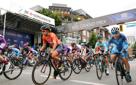 MARIO BARTEL PHOTO The women's race is underway at Friday's PoCo Grand Prix, part of the Superweek series of races around Metro Vancouver that attracts top pro riders from around North America and as far away as Australia.