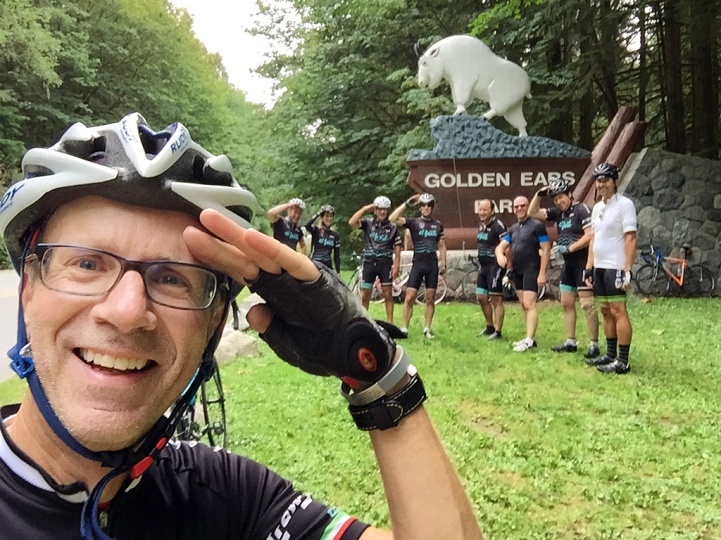 Saluting the goat, any the achievement of my annual July riding goal.