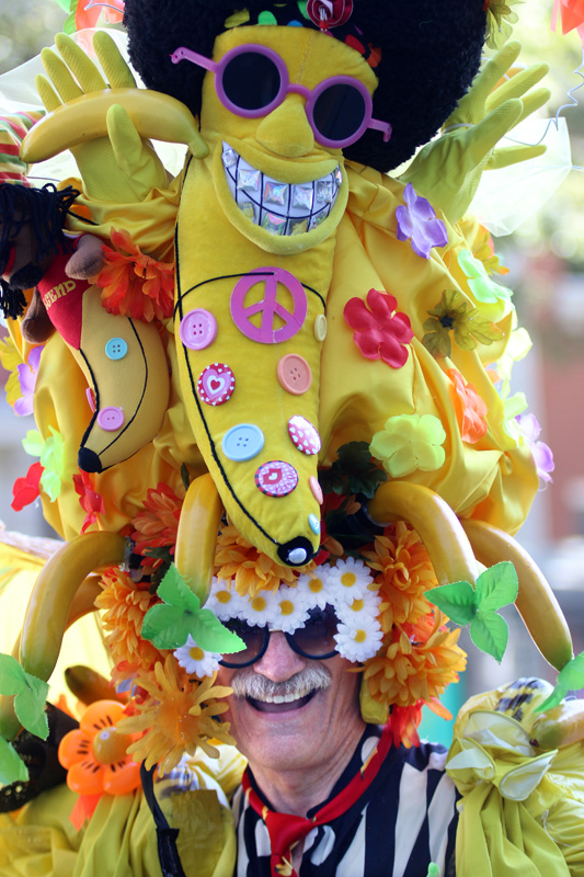 PHOTO BY MARIO BARTEL Dave Davey Decardo's flamboyant hand requires a steady head at Saturday's Pride street party on Columbia Street.