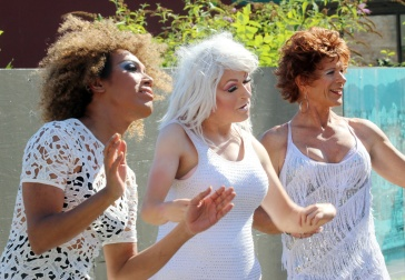 PHOTO BY MARIO BARTEL Drag entertainers at Saturday's Pride street party.