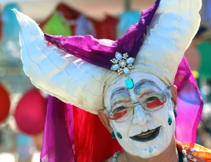 PHOTO BY MARIO BARTEL A colourful character at Saturday's Pride street party in New Westminster.