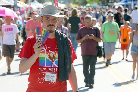 PHOTO BY MARIO BARTEL Crowds brave the hot sun at Saturday's Pride street party.