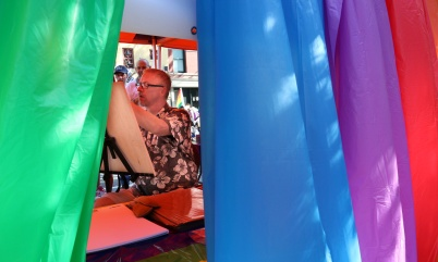 PHOTO BY MARIO BARTEL A sketch artist at work at Saturday's Pride street party in New Westminster.