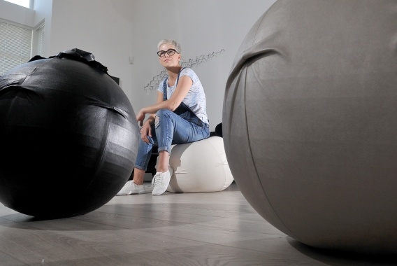 When I entered Darya Ahmadi's Port Coquitlam studio to talk about her passion project, I didn't realize the stylish decor was constructed of disguised exercise balls. I tried to compose the photo to emphasize their unique shape and the monochrome surroundings.