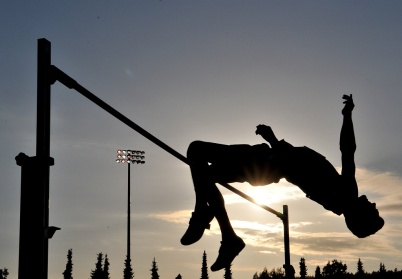 Track and field meets are a smorgasborg of photographic opportunities. And when those meets are at dusk, there's a chance to get arty.