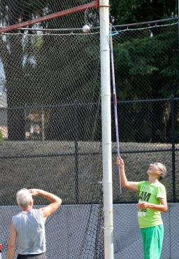 Oops. You have to be prepared for anything — even things that go wrong as when these senior throwers managed to hurl a hammer high into the protective screen.