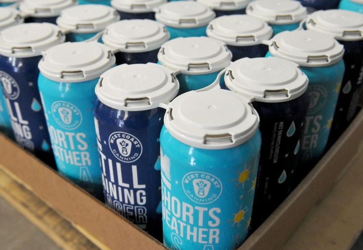 MARIO BARTEL/THE TRI-CITY NEWS Four-packs of Shorts Weather ISA and Staill Raining dark lager are ready for shipping at Moody Ales on Monday.