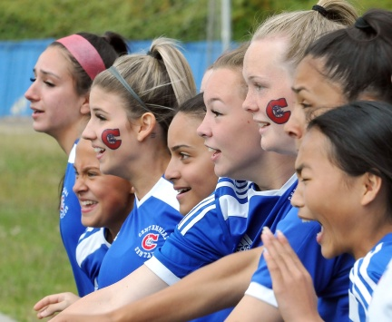 MARIO BARTEL/THE TRI-CITY NEWS Players on Centennial's bench react as time winds down in their 1-0 overtime win over Fleetwood Park secondary school at the BC High School AAA senior girls soccer championship, Friday at UBC's Thunderbird Stadium.