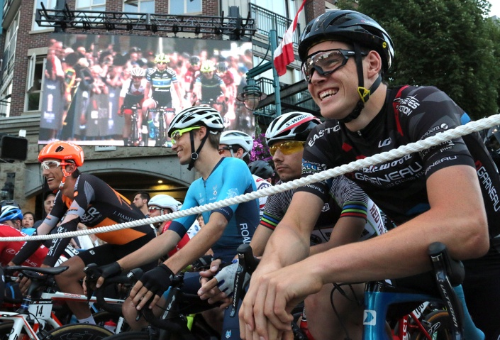 MARIO BARTEL/THE TRI-CITY NEWS A replay of the women's race plays on the monitor as the men await the start of their race at Friday's PoCo Grand Prix.