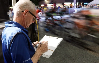 MARIO BARTEL/THE TRI-CITY NEWS A commissaire keeps track of the laps at Friday's PoCo Grand Prix.
