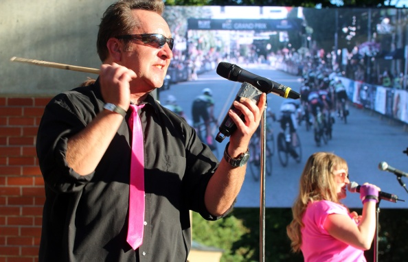 MARIO BARTEL/THE TRI-CITY NEWS The entertainment doesn't stop even as the bike race begins at Friday's PoCo Grand Prix.