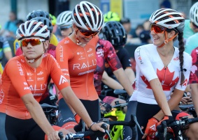 MARIO BARTEL/THE TRI-CITY NEWS Canadian criterium champion Sara Bergen, right, chats with her Rally Cycling teammates before the start of the pro women's race at Friday's PoCo Grand Prix.