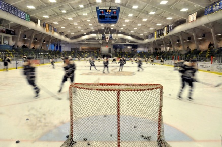 MARIO BARTEL/THE TRI-CITY NEWS The visiting Langley Rivermen are a blur of motion as they warm up at the Poirier Sports and Leisure Complex prior to their midday game against the Coquitlam Express on Wednesday.