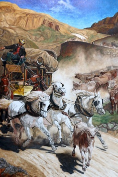 MARIO BARTEL/THE TRI-CITY NEWS A detail from Cosimo Geracitano's reproduction of The Gotthard Post, by Rudolf Koller.