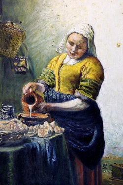 MARIO BARTEL/THE TRI-CITY NEWS Paul Vermeer's The Milkmaid, as painted by Coquitlam artist Cosimo Geracitano.