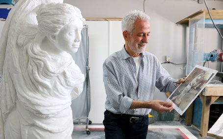 MARIO BARTEL/THE TRI-CITY NEWS Geracitano not only paints reproductions of master works on canvas, he also sculpts in marble and jade in a converted garage in his Coquitlam home.
