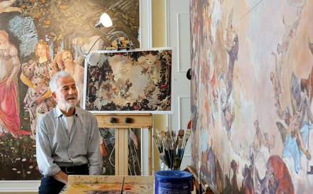 MARIO BARTEL/THE TRI-CITY NEWS Gericatano is in the final stages of completing his last painting, a fresco he will hand on the ceiling in the dining room of his Coquitlam home. He says he's run out of space for new works.