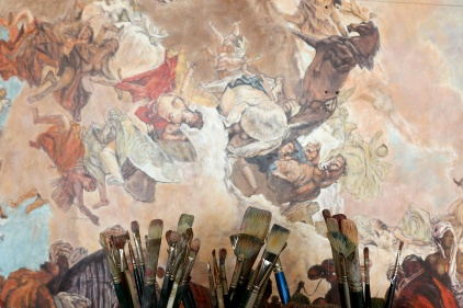MARIO BARTEL/THE TRI-CITY NEWS A detail of Allegory of the Planets and Continents that was painted by Giovanni Battista Tiepolo in 1752 and is being meticulously reproduced by retired Coquitlam engineer Cosimo Geracitano so he can hang it on the ceiling of his dining room. He says it will be his last painting as he's run out of room in his house.