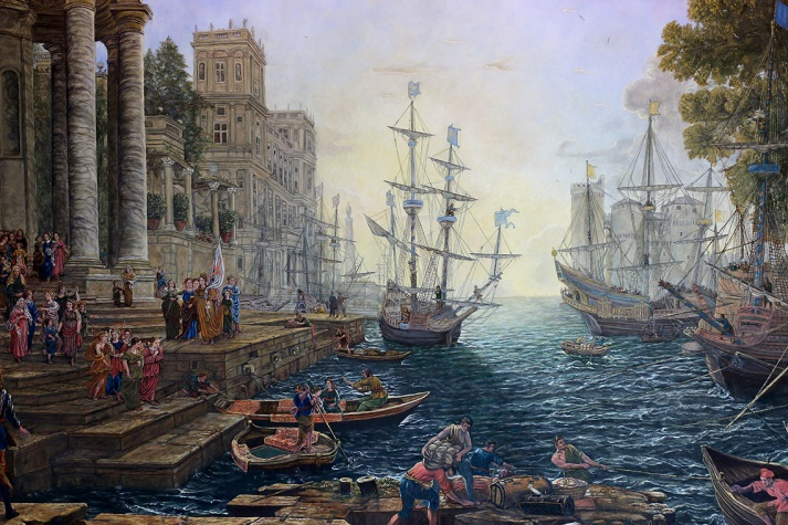 MARIO BARTEL/THE TRI-CITY NEWS A detail from Seaport with the Embarkation of Saint Ursula, painted in 1641 by Glaude Gallée and reproduced by retired engineer Cosimo Geracitano in his Coquitlam home.