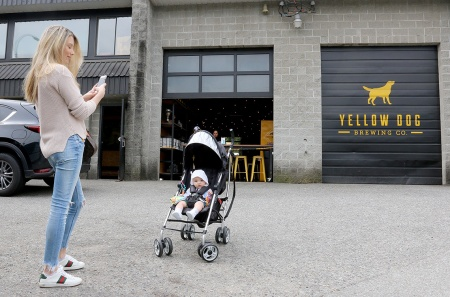 MARIO BARTEL/THE TRI-CITY NEWS Angela Teymoori turns her arrival at the Tri-Cities Babies + Beer meetup at Yellow Dog Brewing in Port Moody into an Instagrammable moment with her son, Darius, who's five months old.