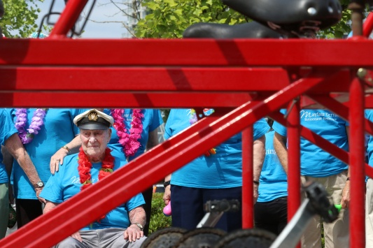 MARIO BARTEL/THE TRI-CITY NEWS Don Simpson, 106, is the team's captain, and a veteran of riding the big bike. He last did it two years ago, when he was 104.