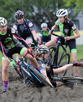 """Hang out at the """"beach"""" at the annual Donkey Cross cyclocross race in Port Coquitlam long enough, and somebody is bound to go down."""