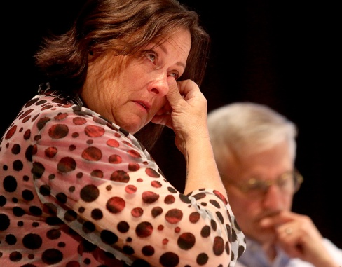 """MARIO BARTEL/THE TRI-CITY NEWS Port Moody councillor Meghan Lahti gets emotional at Tuesday's meeting of city countil as she speaks to a motion by fellow councillor Diana Dilworth asking Mayor Rob Vagramov to resume his leave of absence until his charge of sexual assault is dealt with. Lahti said """"it's our job to maintain the public's trust."""" Shows of emotion are rare at a city council meeting. At least as rare as bringing a camera to cover that meeting."""