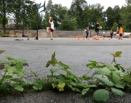 MARIO BARTEL/THE TRI-CITY NEWS A basketball court built on a parking lot presents unique challenges like broken and uneven payment as well as overgrown weeds.